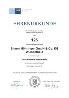 Ehrenurkunde der Handwerkskammer 2010
